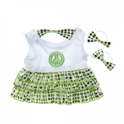 Robe blanche et verte Peace and love