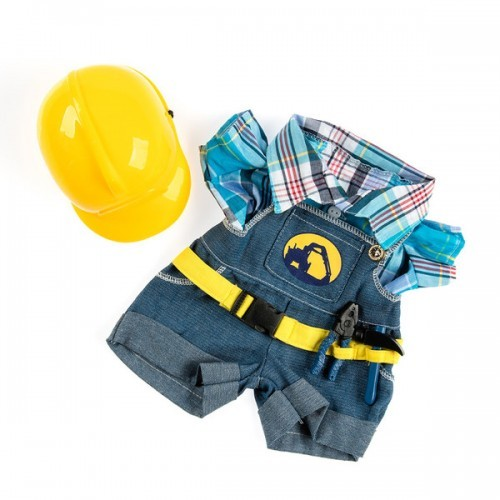 Salopette bleue et casque jaune d'ouvrier