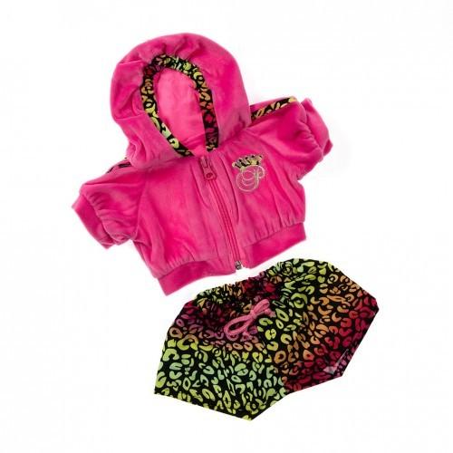 Veste rose et short coloré avec des motifs