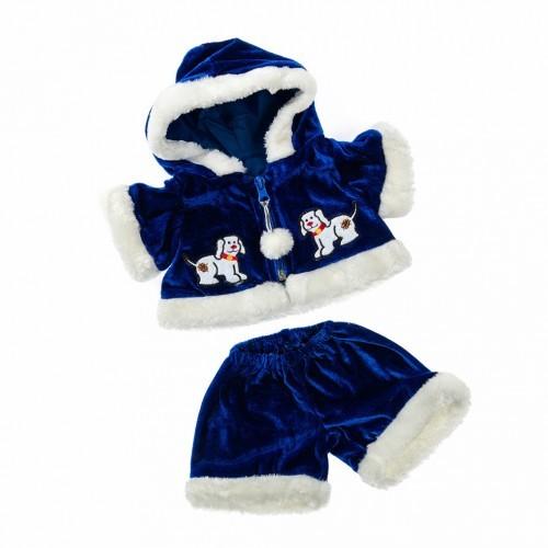 Tenue bleue et blanche de Noël avec une capuche