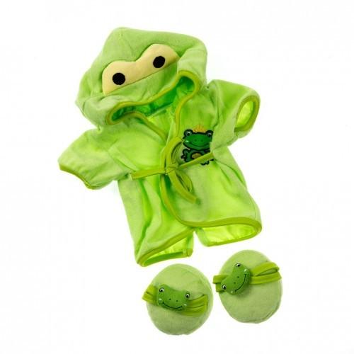 Peignoir vert et chaussons grenouille