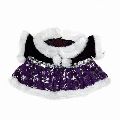 Robe de Noël avec fourrure et motifs argentés