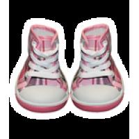 Paire de chaussures rose, blanche et grise à carreaux