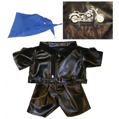 Tenue de motard en cuir avec un foulard bleu