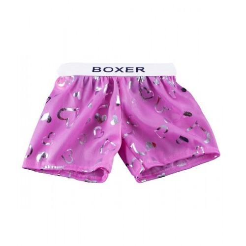 Boxer violet avec des cœurs argentés