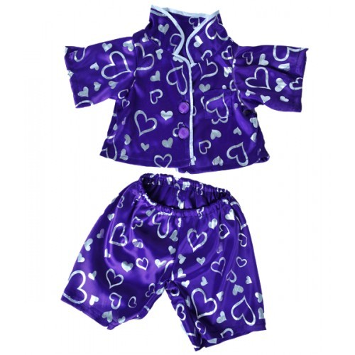 Pyjama, kimono violet avec des cœurs