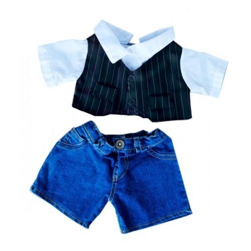 Short en jean avec gilet noir et blanc