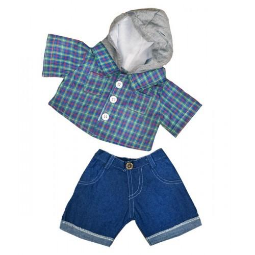 Short en jean avec chemise à carreaux