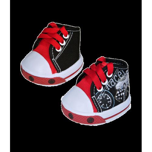 Paire de chaussures noires, rouges et blanches