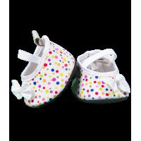 Chaussures blanches avec des pois colorés