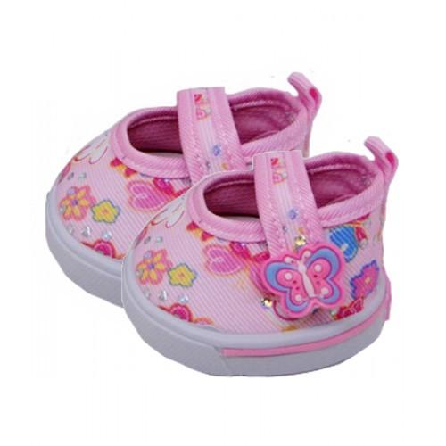 Petites chaussures roses avec des fleurs